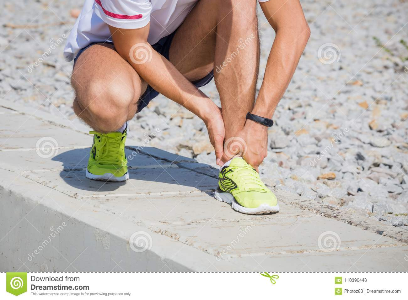 3b81eaa5e1 Running athlete feeling pain after having his leg injured. Accident on  running track during the morning exercise. Sport accident concepts