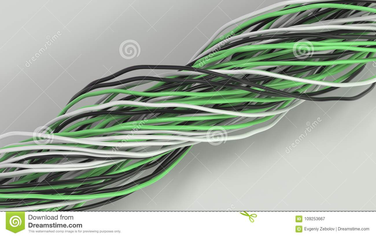 Twisted Black, White And Green Cables And Wires On White Surface ...
