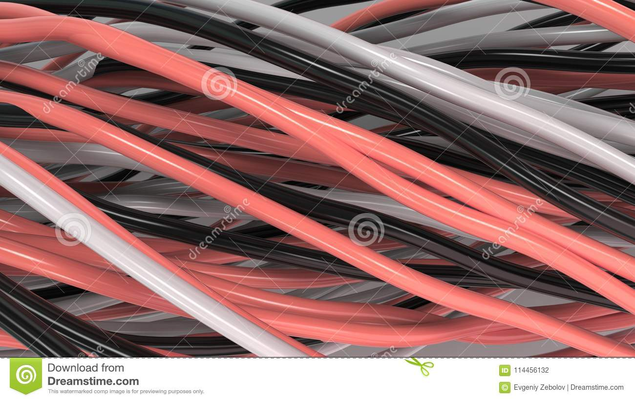 Twisted Black White And Red Cables Wires On Surface Stock Electrical Wiring Download Illustration