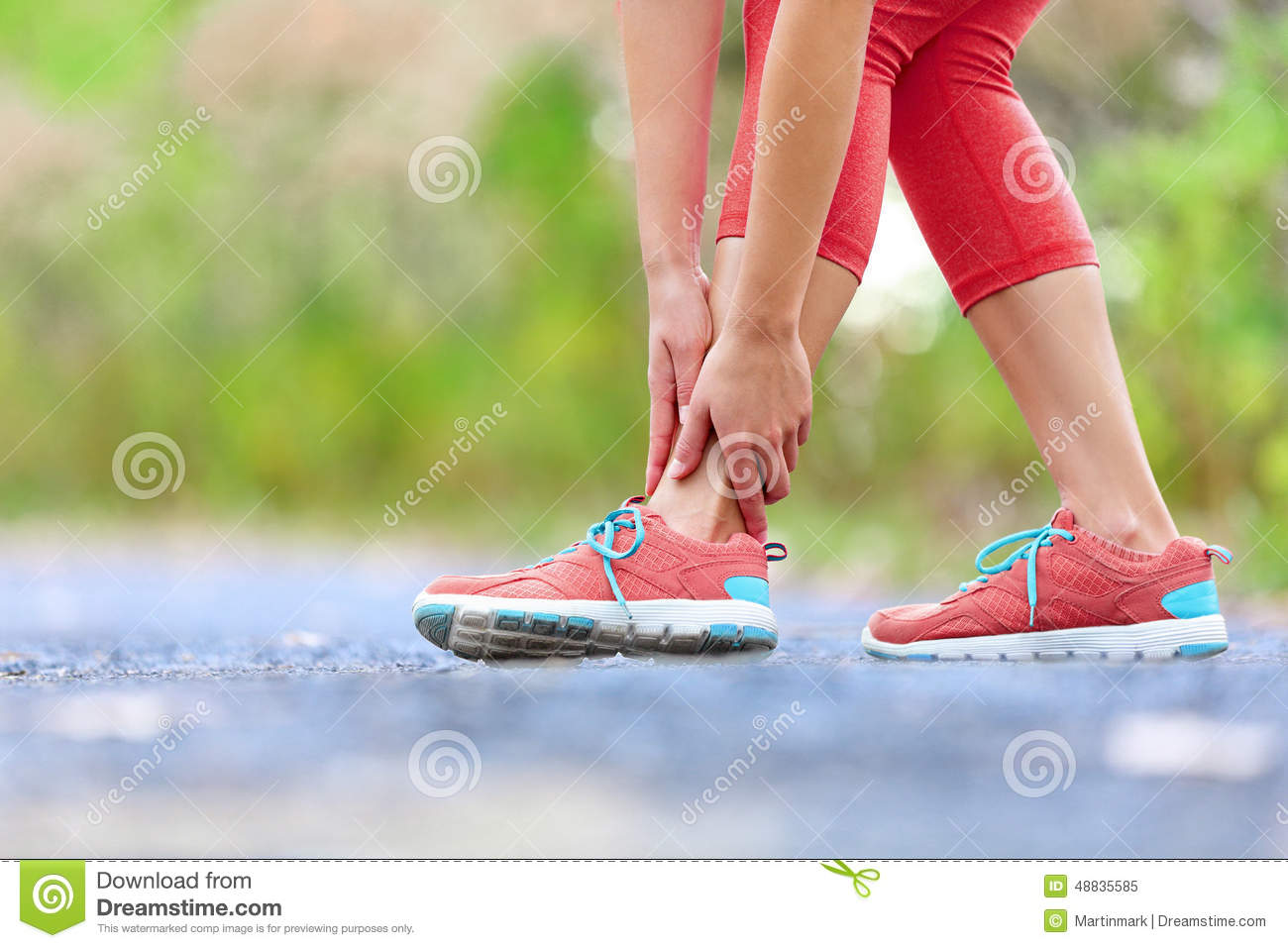 Twisted Broken Ankle Running Sport Injury Stock Photo