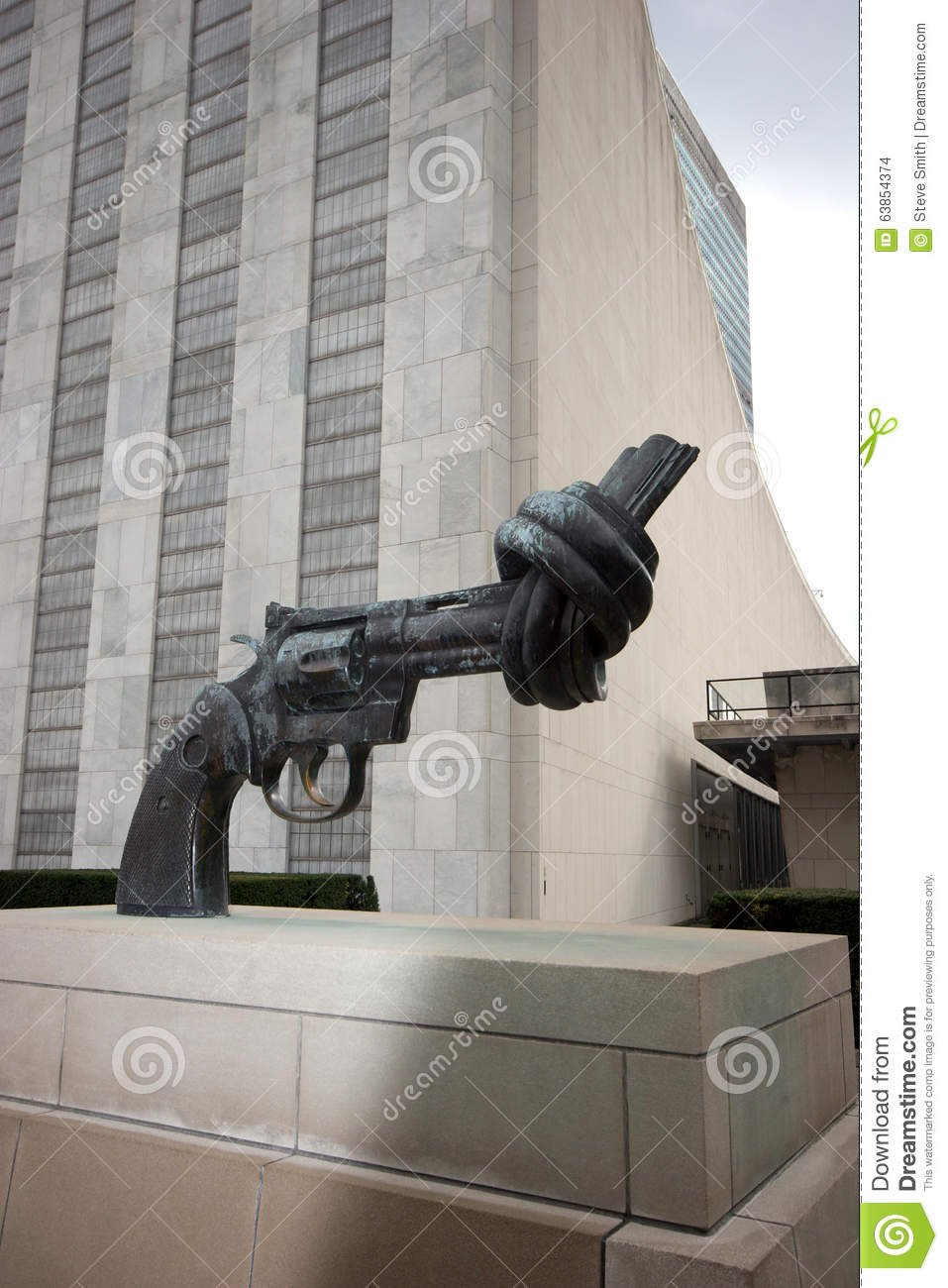 Twisted handgun statue at United Nations Plaza