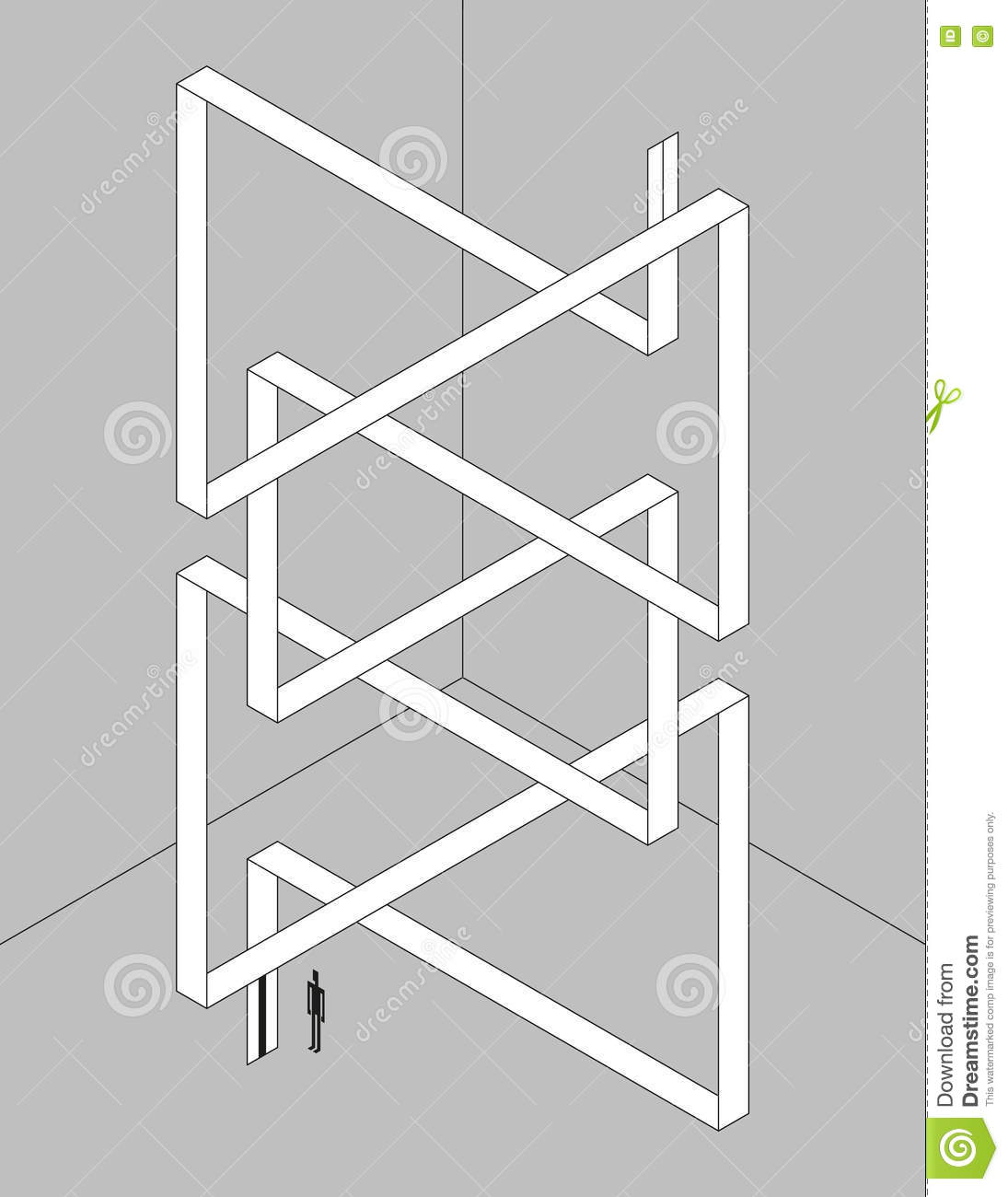 Twisted Isometric Ribbon Stock Vector Illustration Of Optical Elevator Schematic Monochrome As An With Illusion