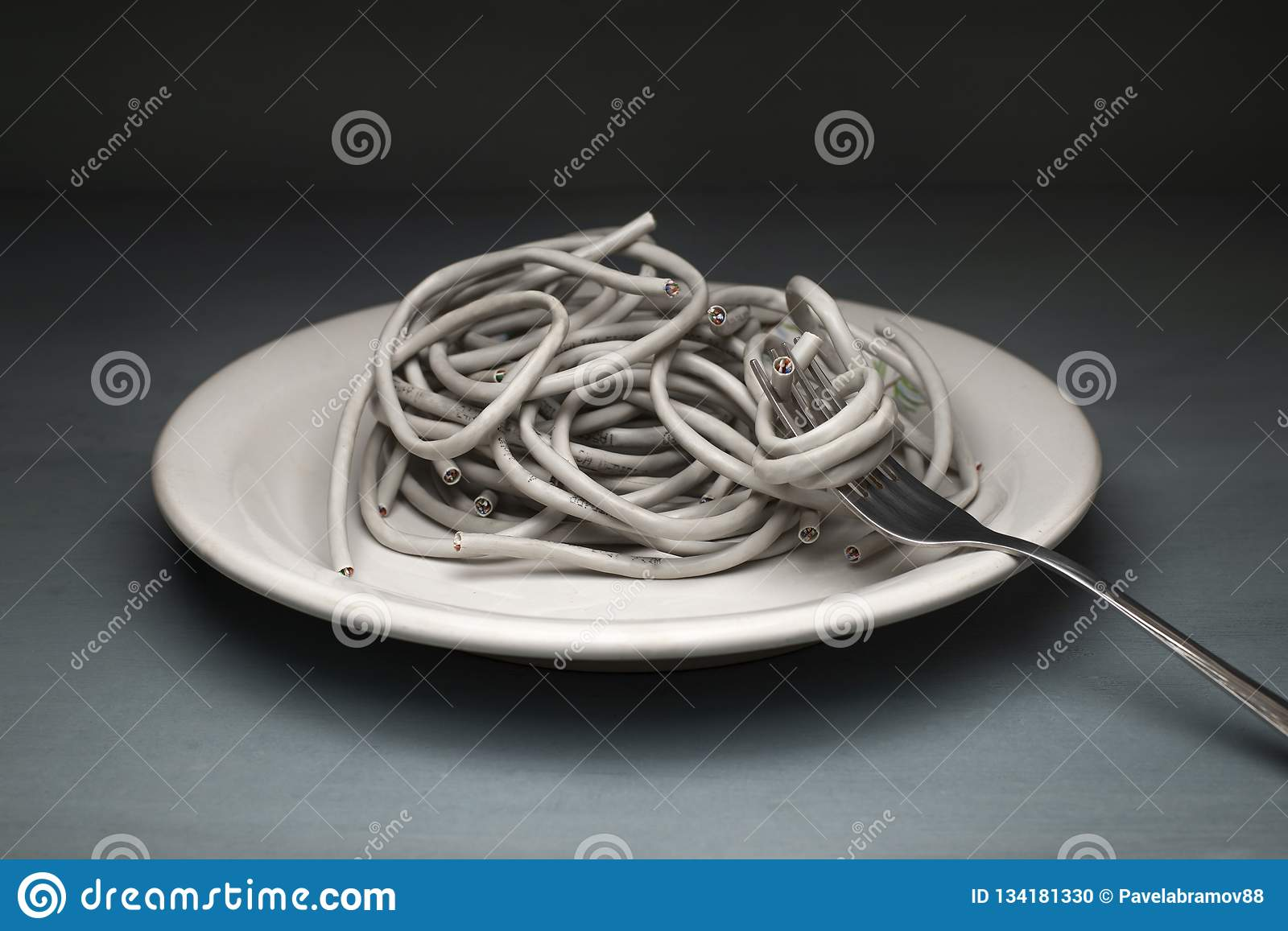 Twisted-pair ADSL in the form of paste wrapped around a fork