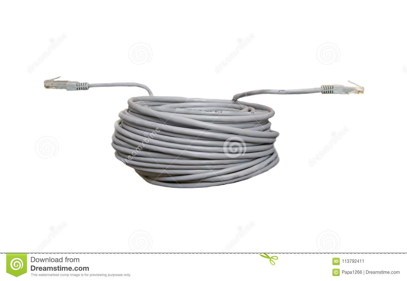 Twisted pair patch cord stock image. Image of close - 113792411