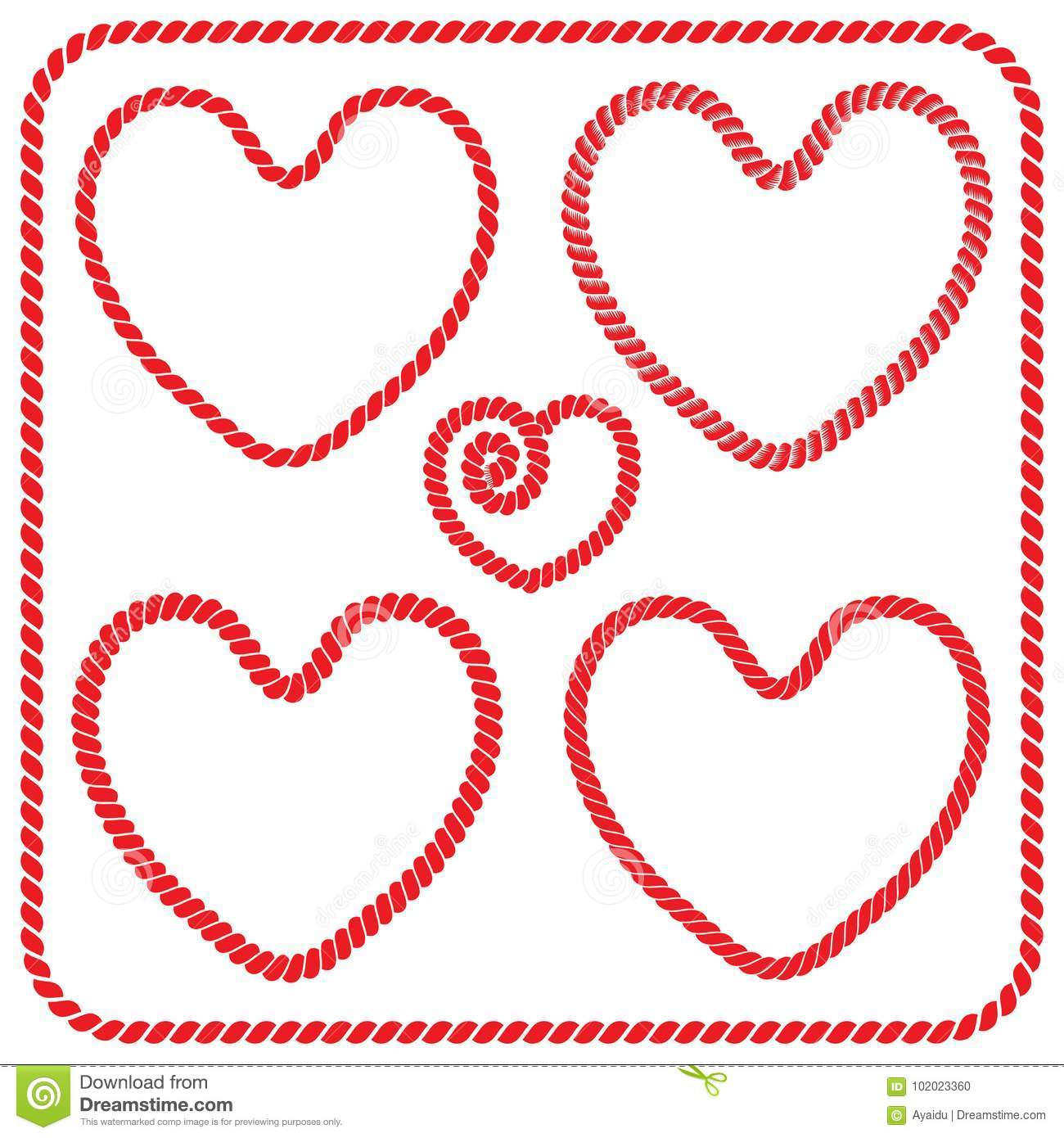 a2868bfab2 Vector set of twisted rope frames and square frames heart shaped. Collection  of romantic frames of red color for decoration and design of postcards for  St. ...