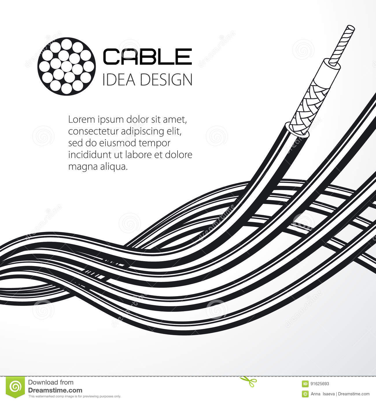 Twisted Wire, Solid And Stranded Cable. Stock Vector - Illustration ...