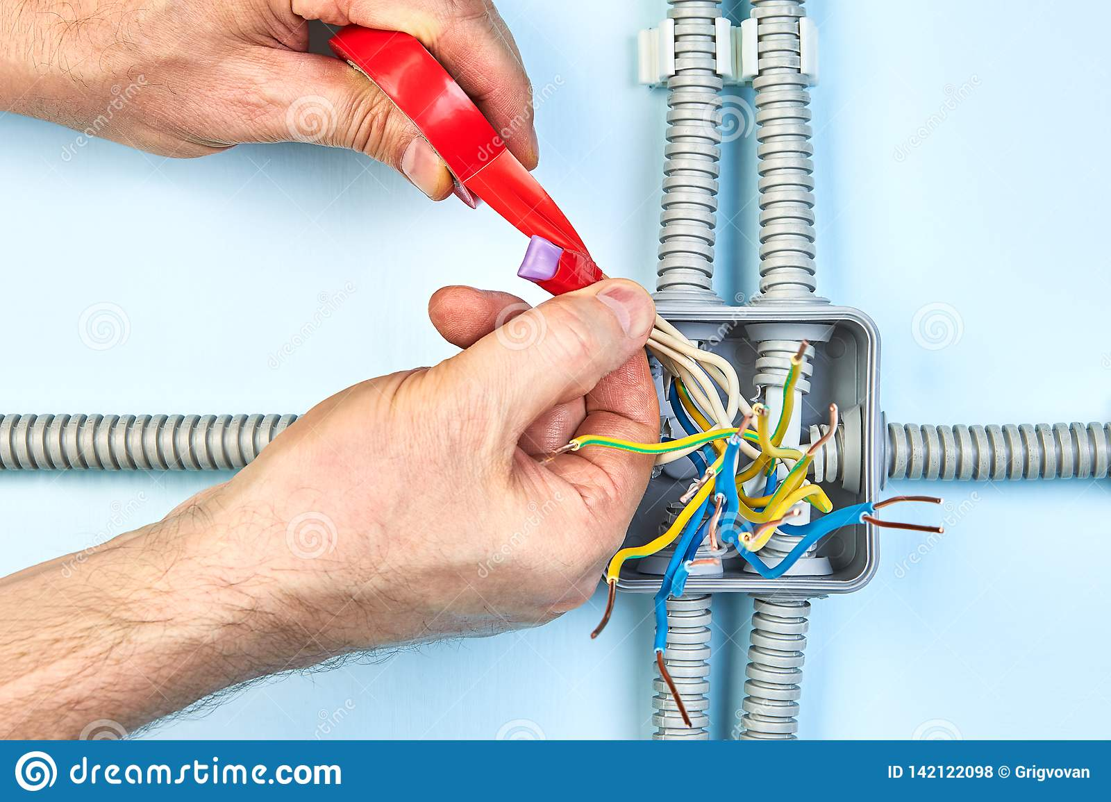Twisting Insulating Tape On Copper Wiring Stock Photo