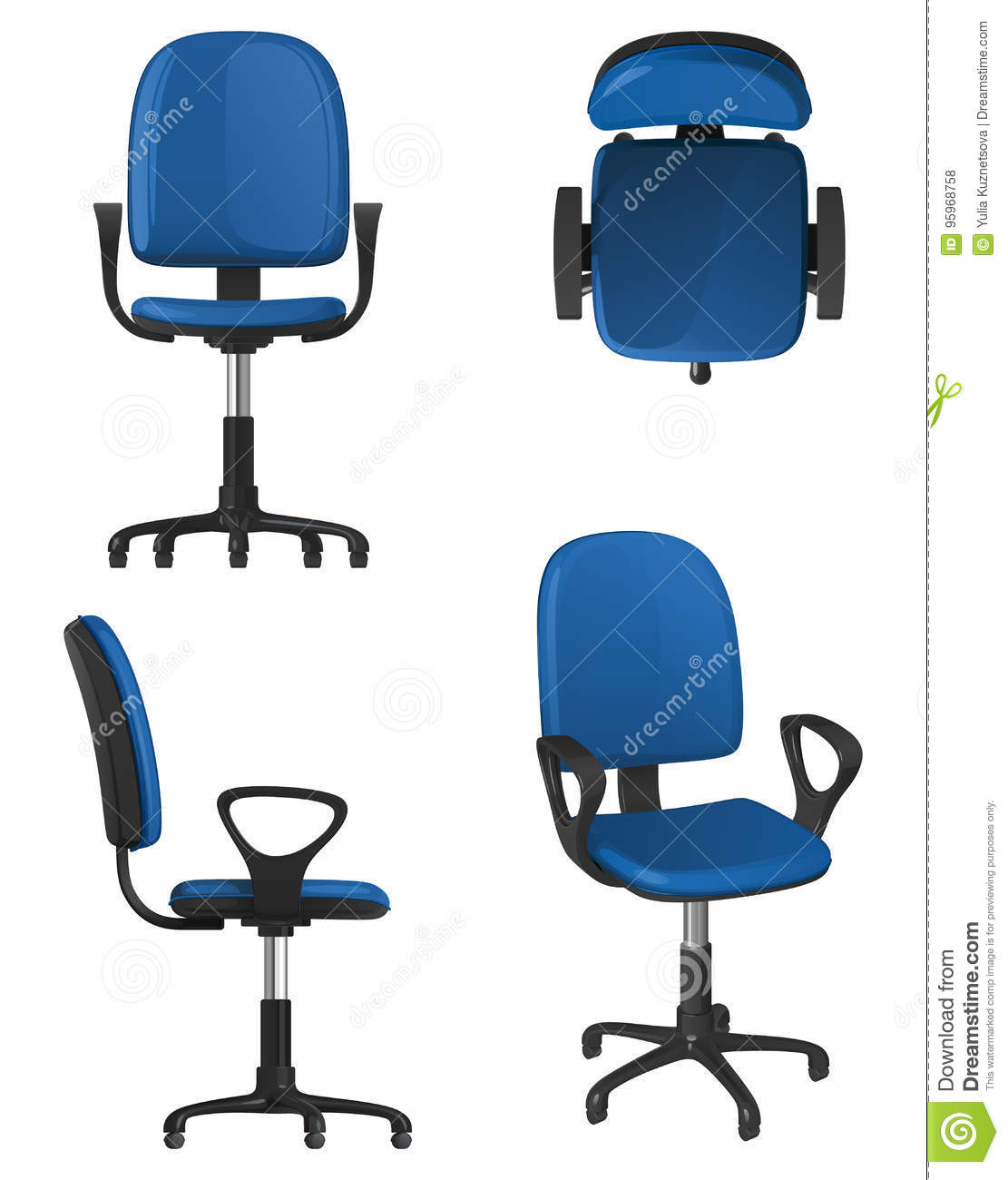 Picture of: A Twisting Office Chair On Wheels With A Blue Upholstery Seat And Backrest Stock Vector Illustration Of Furniture View 95968758