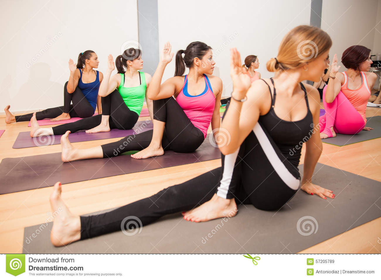 Twisting Sage Pose In Yoga Class Stock Photo Image 57205789