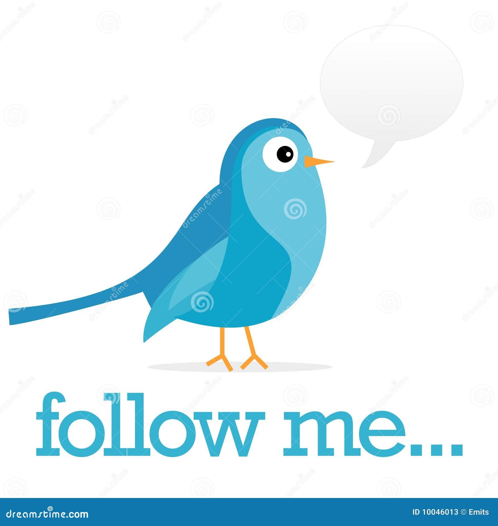 Blue twitter bird with a speach bubble follow me text below bird