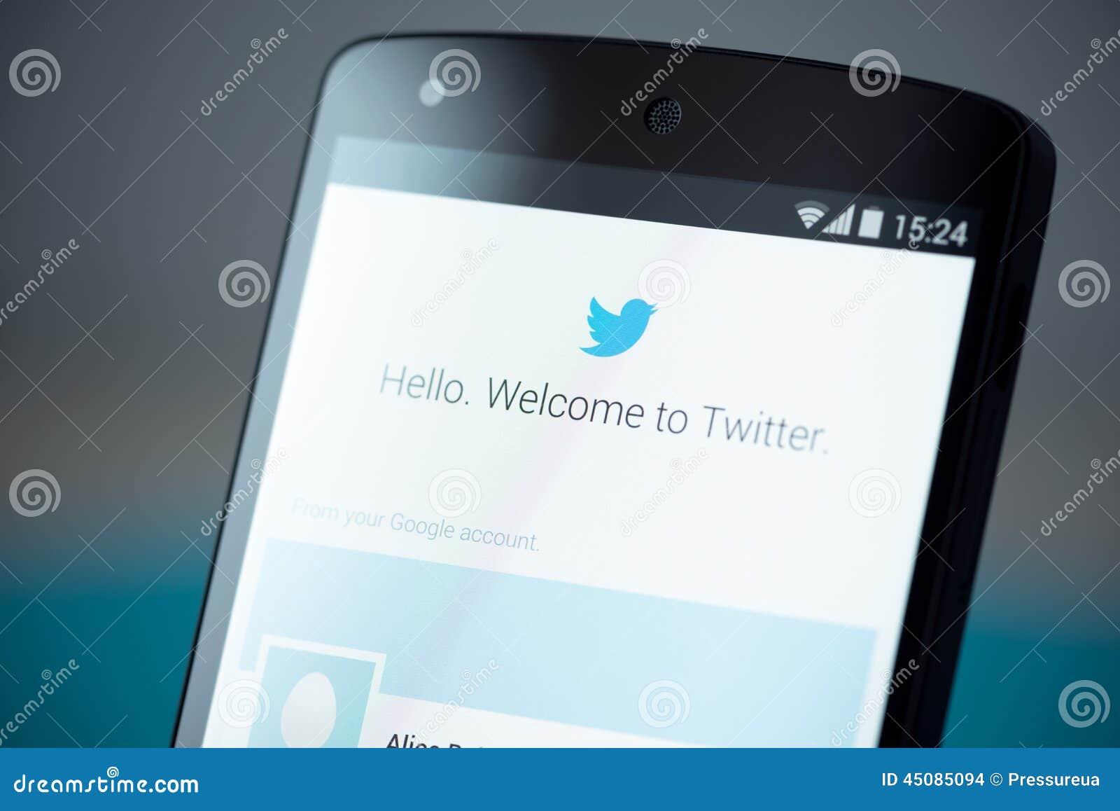 Twitter Login Page On Google Nexus 5 Editorial Stock Image - Image