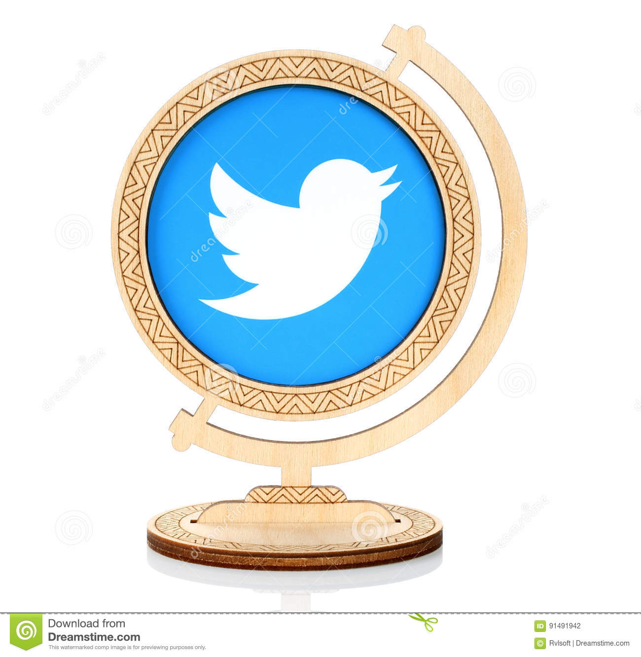 Twitter Paper Logo Placed In Wooden Globe Editorial