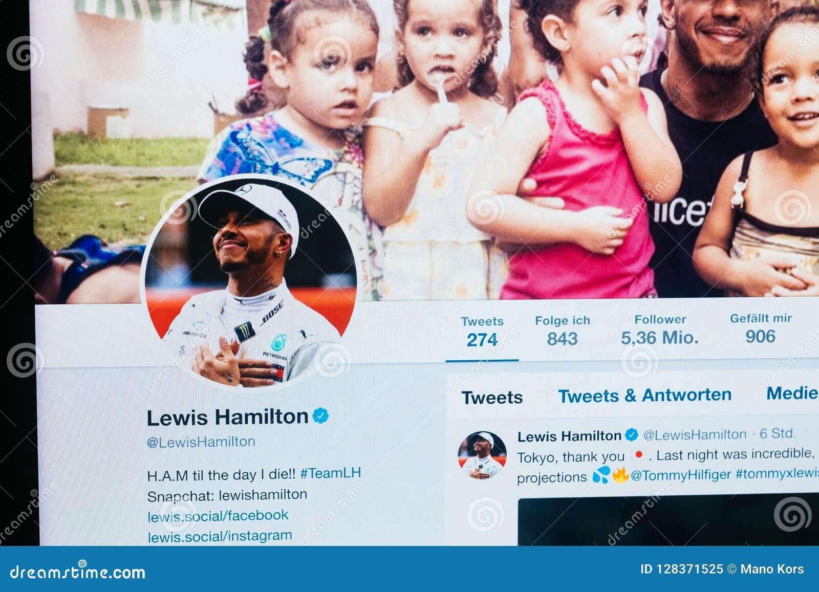 Twitter-Profil von Lewis Hamilton ab Oktober 2018