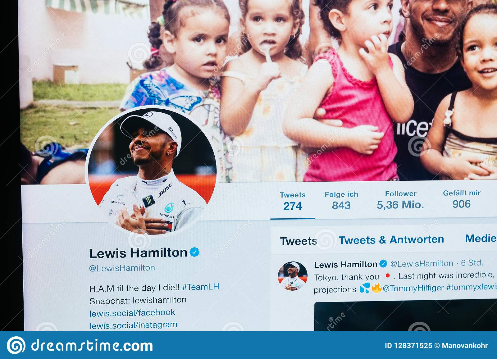 Twitter profile of Lewis Hamilton from October 2018