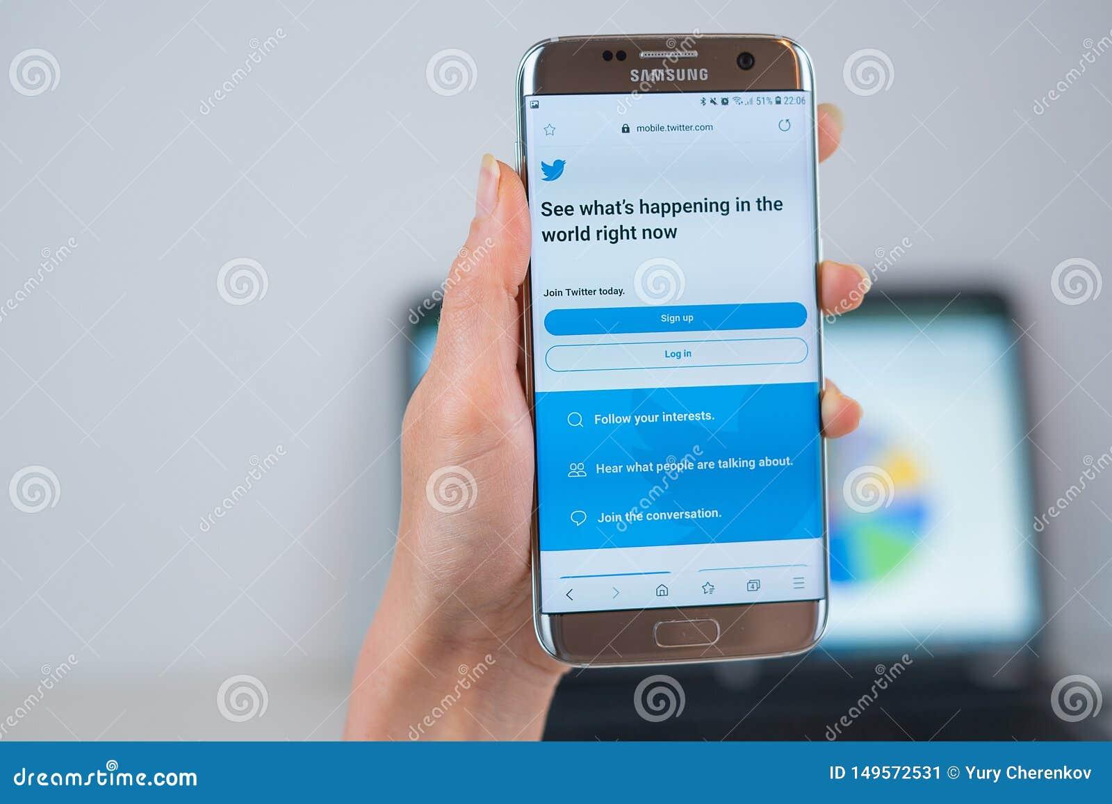 Twitter webbplats som ?ppnas p? mobilen