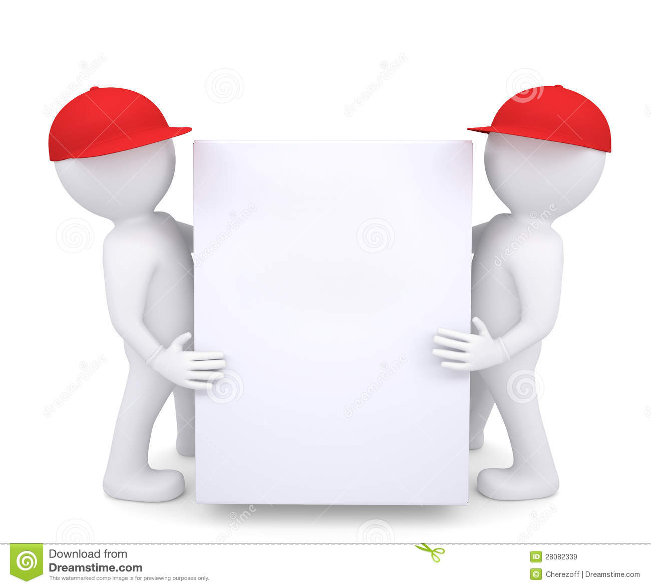 Two 3d White Man In A Red Hat Holding A White Box Stock