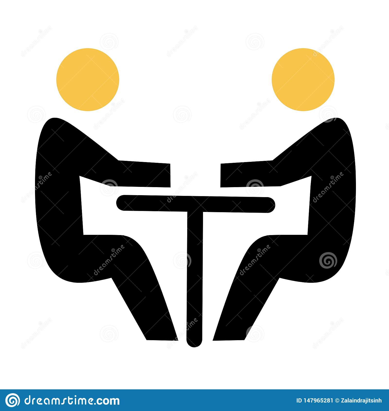 Two abstract people sitting at a table. Team business meeting with teamwork and collaboration flat icon