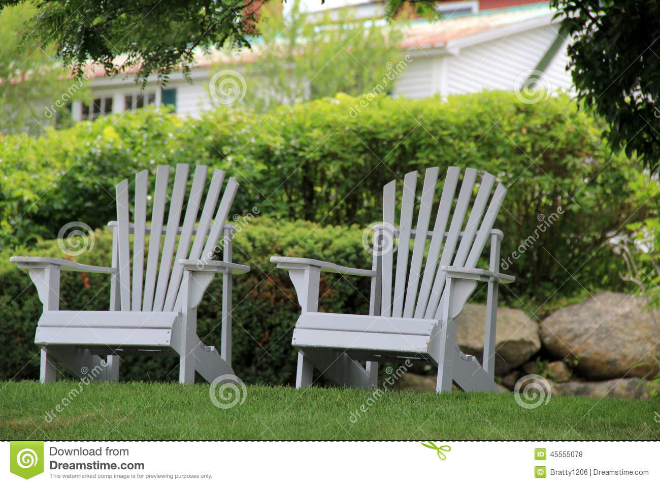 Two Adirondack Chairs On Front Lawn Stock Photo Image