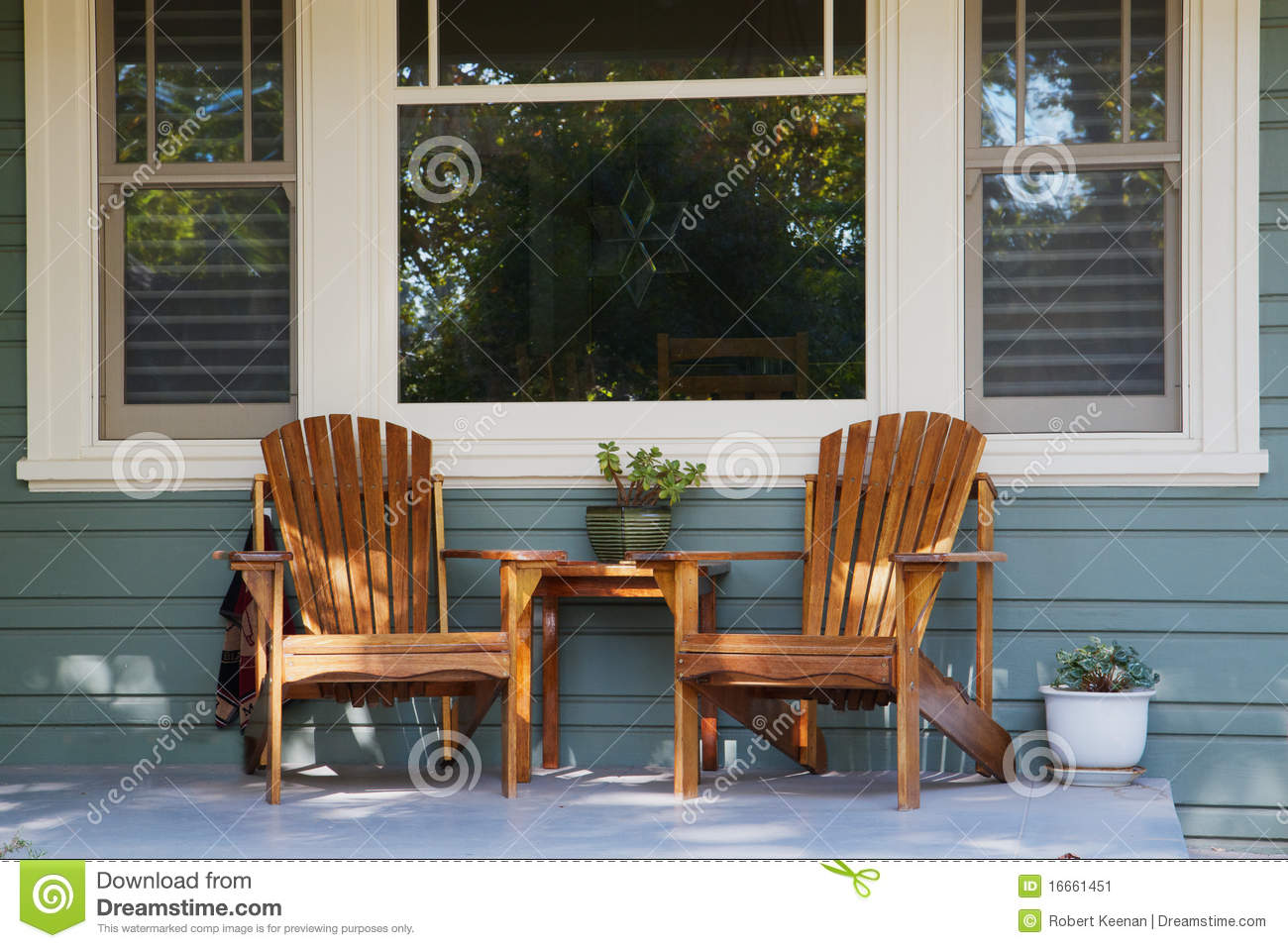 Two Adirondack Chairs Porch Stock Image Image
