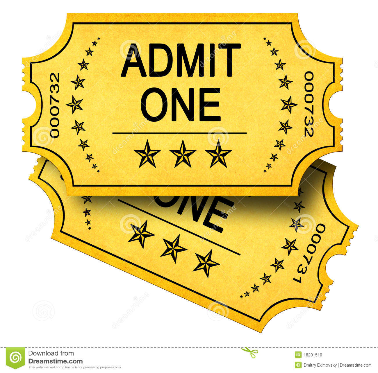 Two Admit One Tickets Stock Photo - Image: 18201510