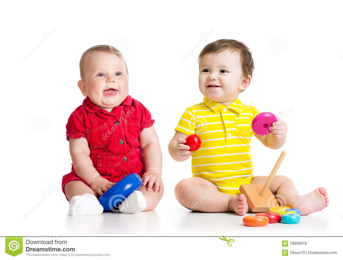 Toddler Toys Photography : Two adorable children playing with toys toddlers stock