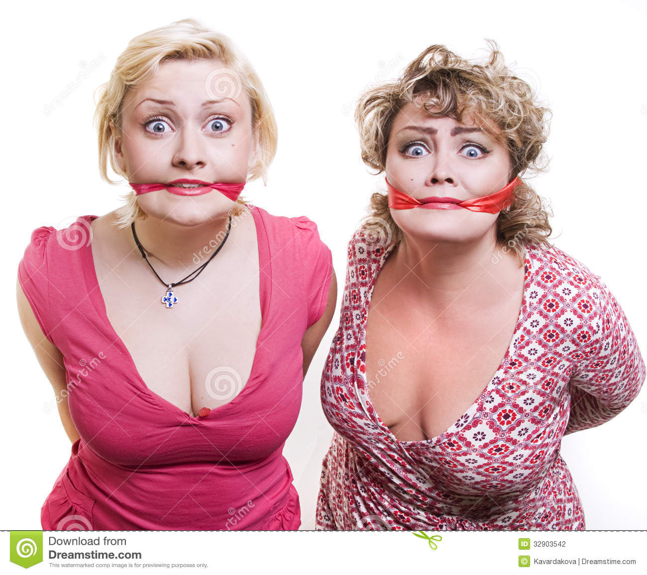 two adult fat women hostages tied up with the mout stock photo