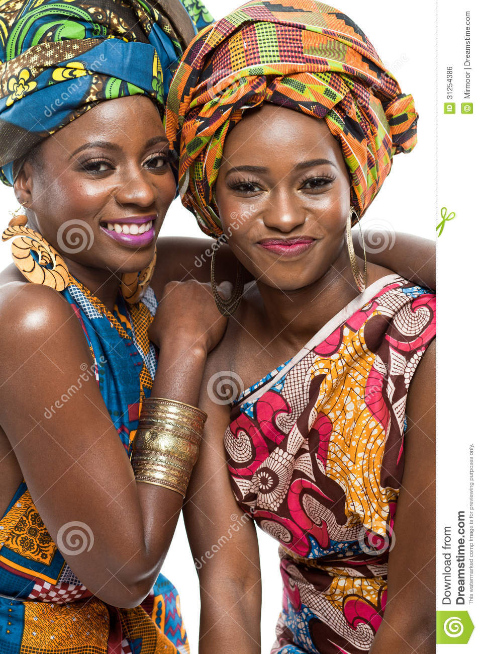 two african fashion models on white background  royalty