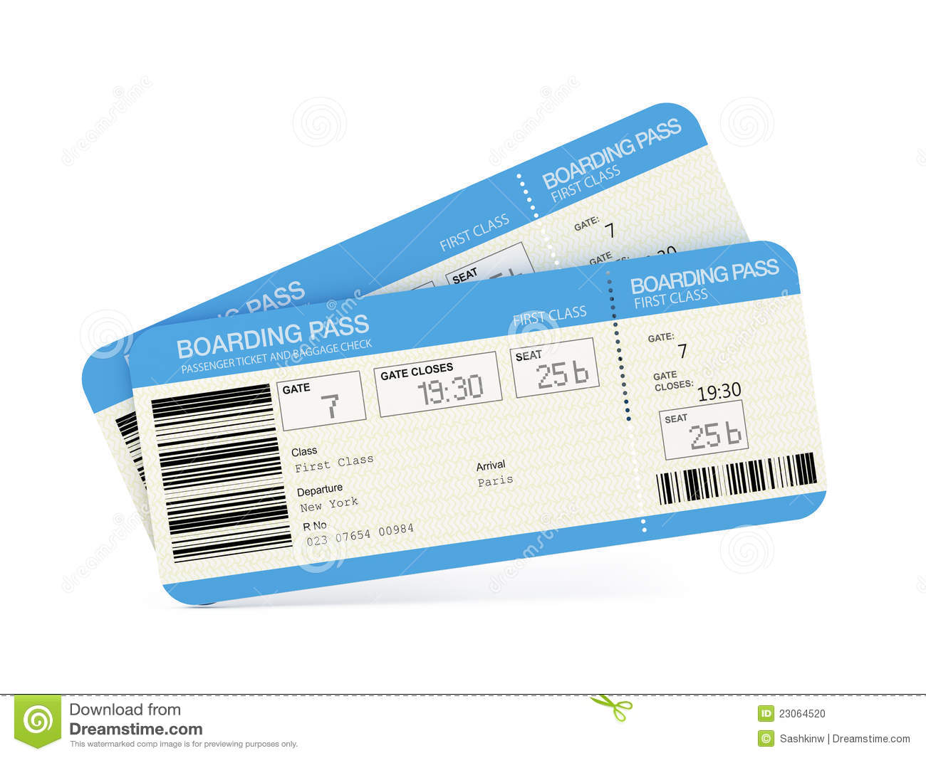 Two airline boarding pass tickets stock photo image for Cost of plane ticket to germany