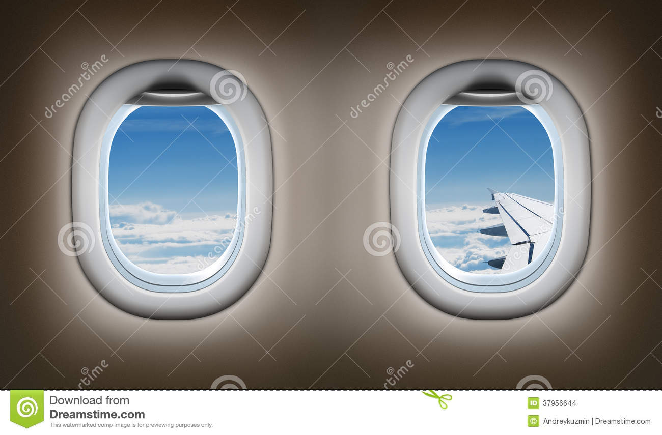 Two Airplane Windows Jet Interior Stock Images Image 37956644