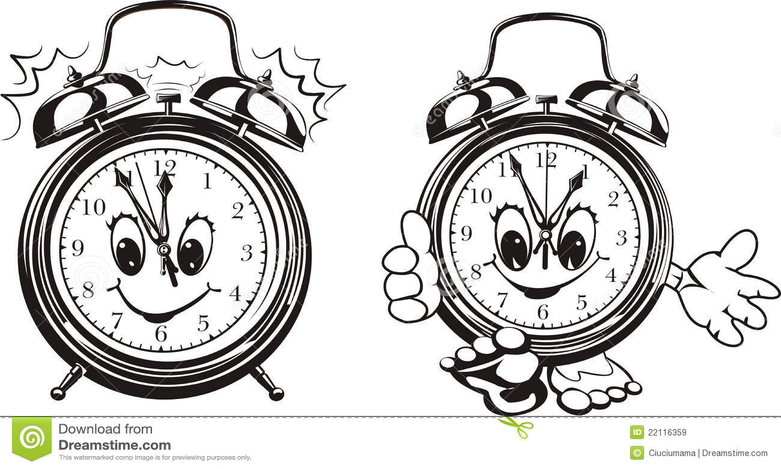 Two Alarm Clocks - Black & White Royalty Free Stock Images ...