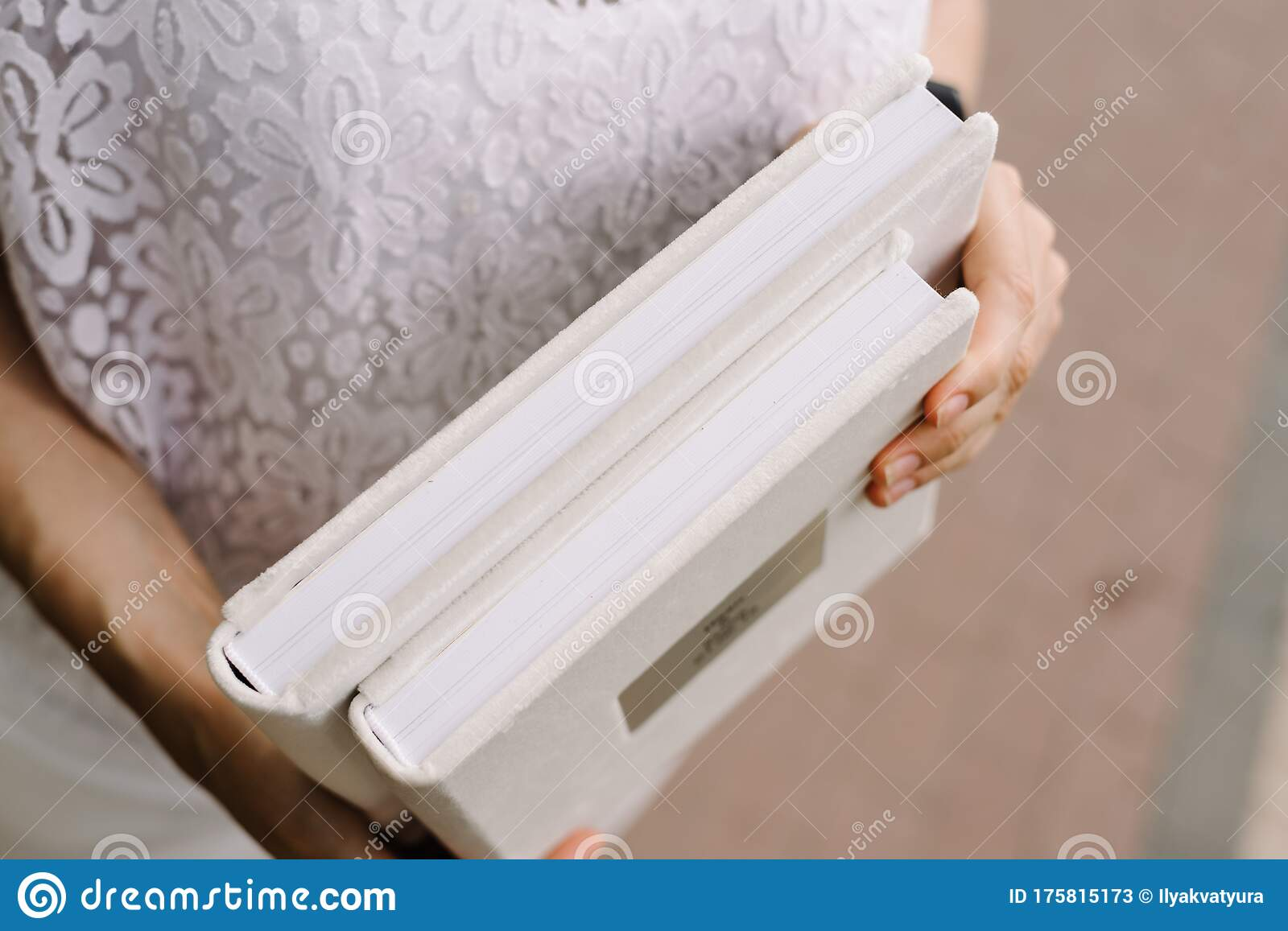 Two Albums For Photos In A White Cover With Thick Pages Of Shallow Depth Of Field In The Hands Of A Girl Stock Image Image Of Album Velvet 175815173