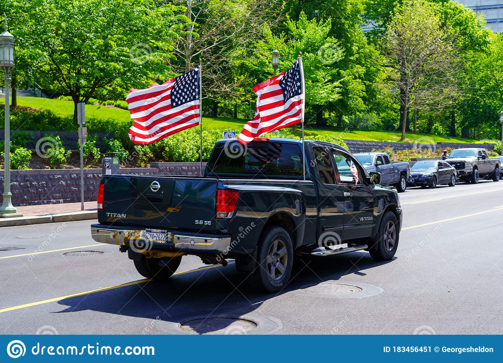 Two American Flags On Truck Editorial Photo Image Of America Street 183456451