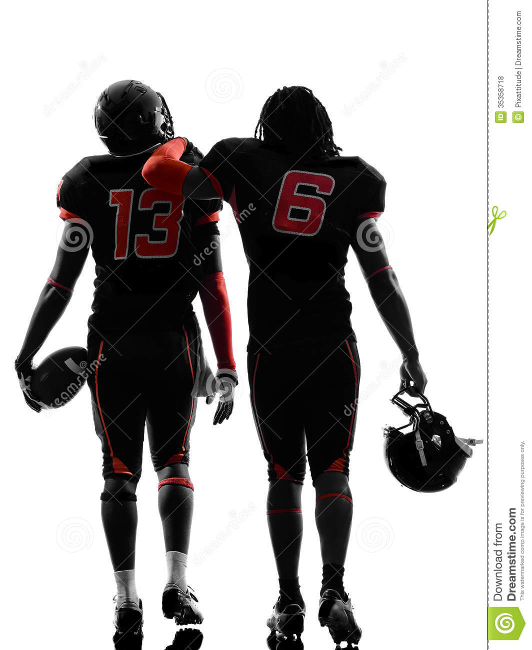 Royalty Free Stock Photos: Two american football players walking rear ...