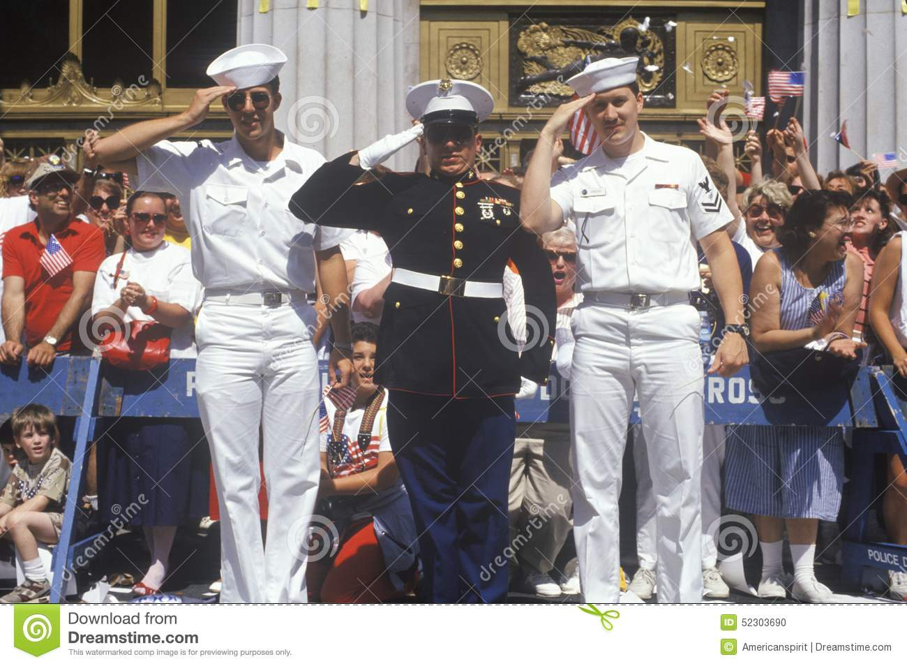Two American Sailors and a United States Marine Saluting at Parade, America