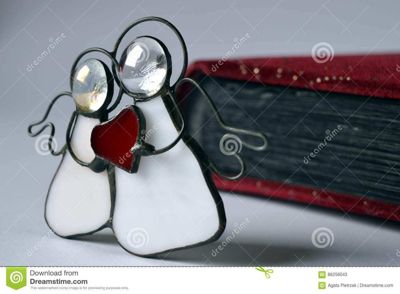 Two Angels With Red Heart Stock Image Image Of Robe 86256043