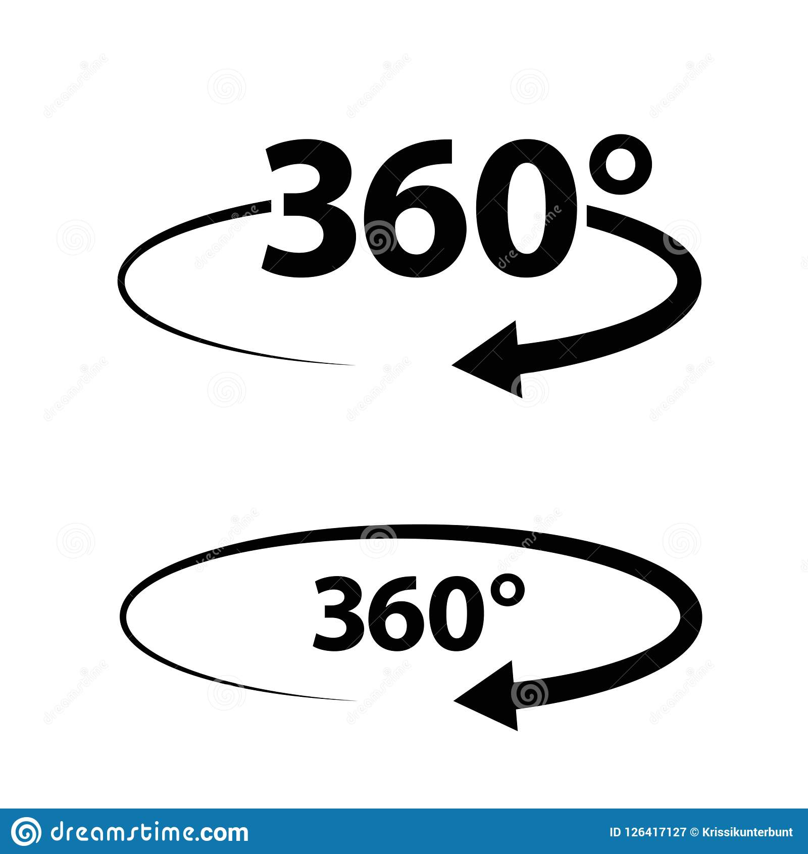 Two Angle 360 Degrees Sign Icons Geometry Math Symbol Full Rotation