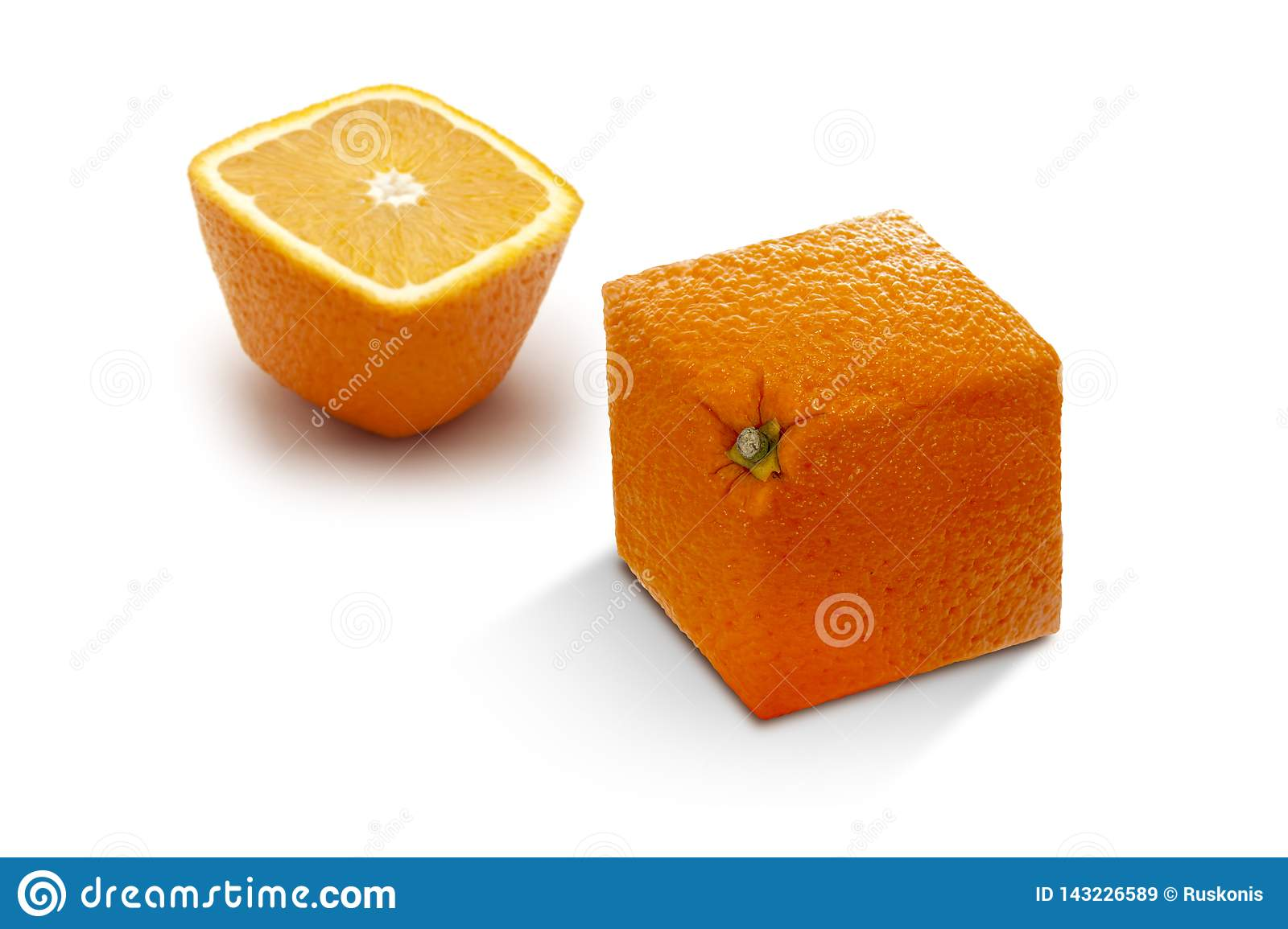 Two angled ripe oranges on a white background