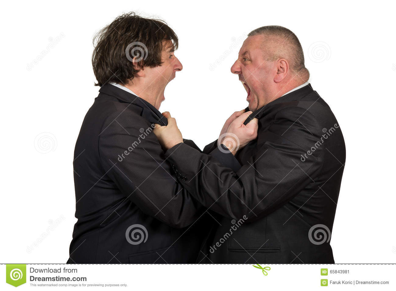 Two angry business colleagues during an argument, isolated on white background