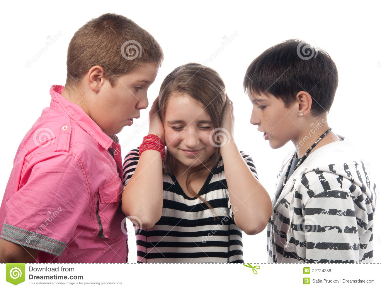 Two Angry Teenage Boys And The Girl Royalty Free Stock