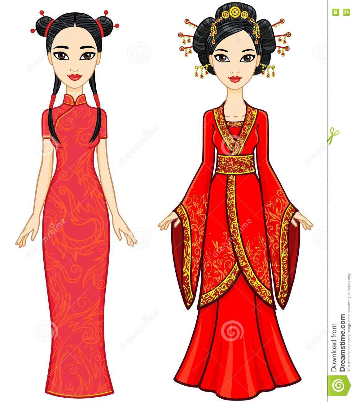 Two Animation Asian Girls In Different Poses In