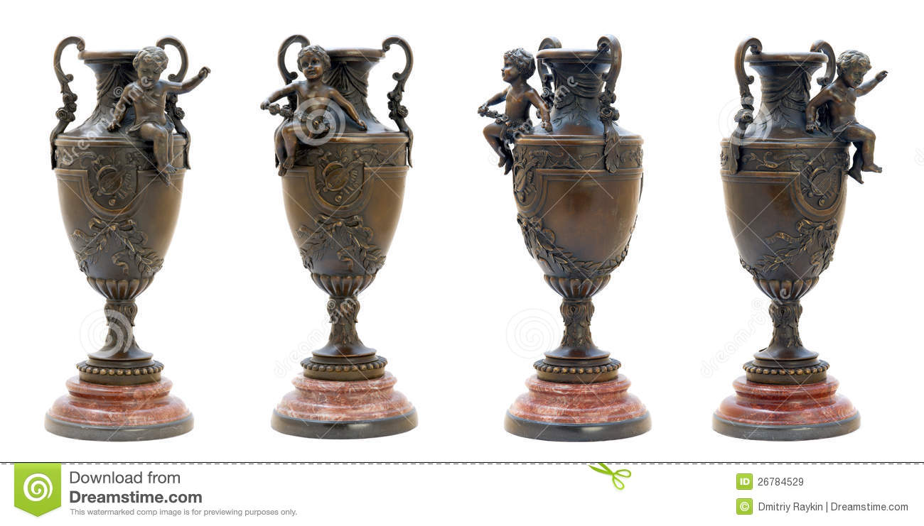 two antique bronze vases with angel figure stock image image 26784529. Black Bedroom Furniture Sets. Home Design Ideas