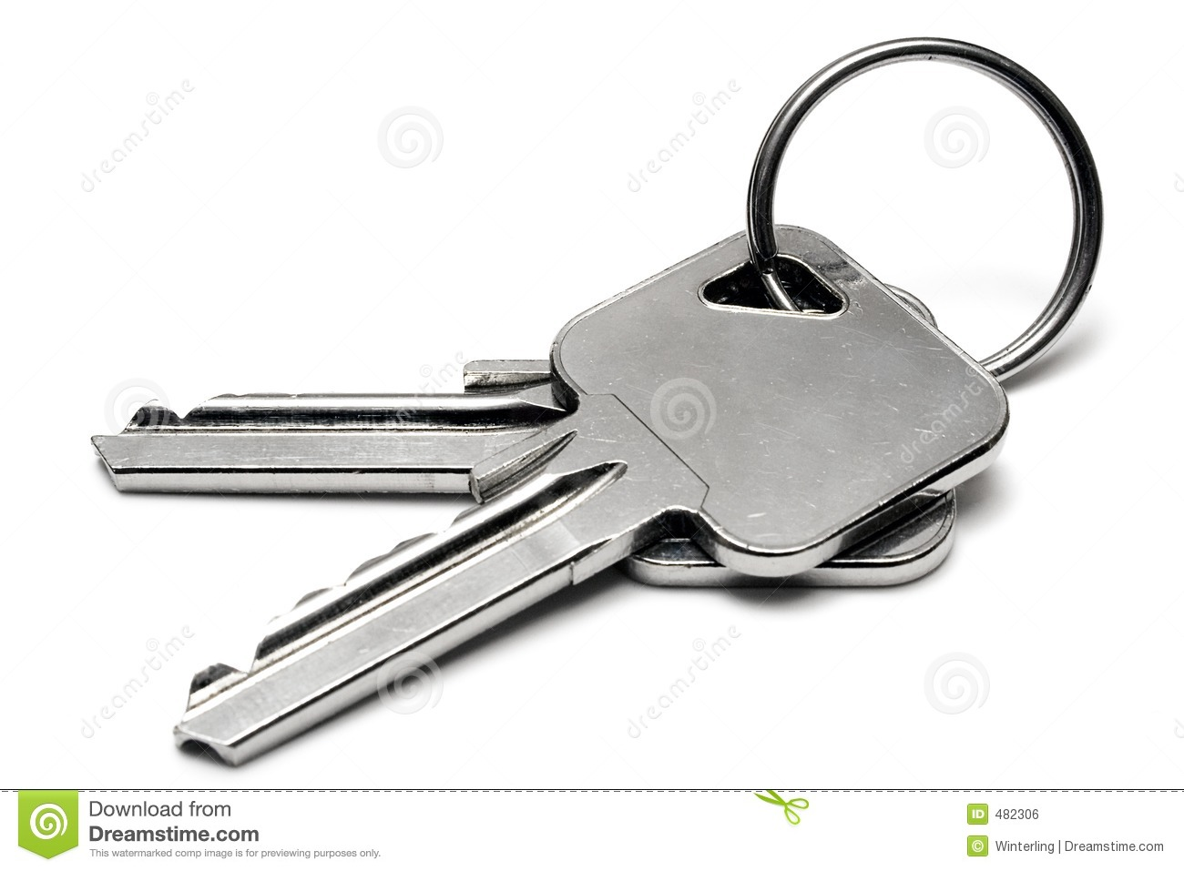 Two Apartment Keys W Ring Royalty Free Stock Image