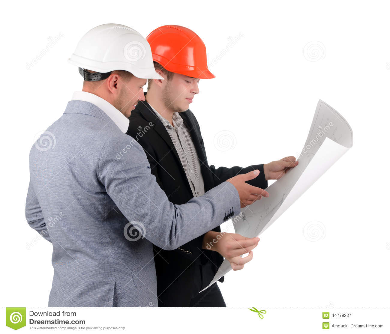 Two Architects Discussing A Building Plan Stock Image