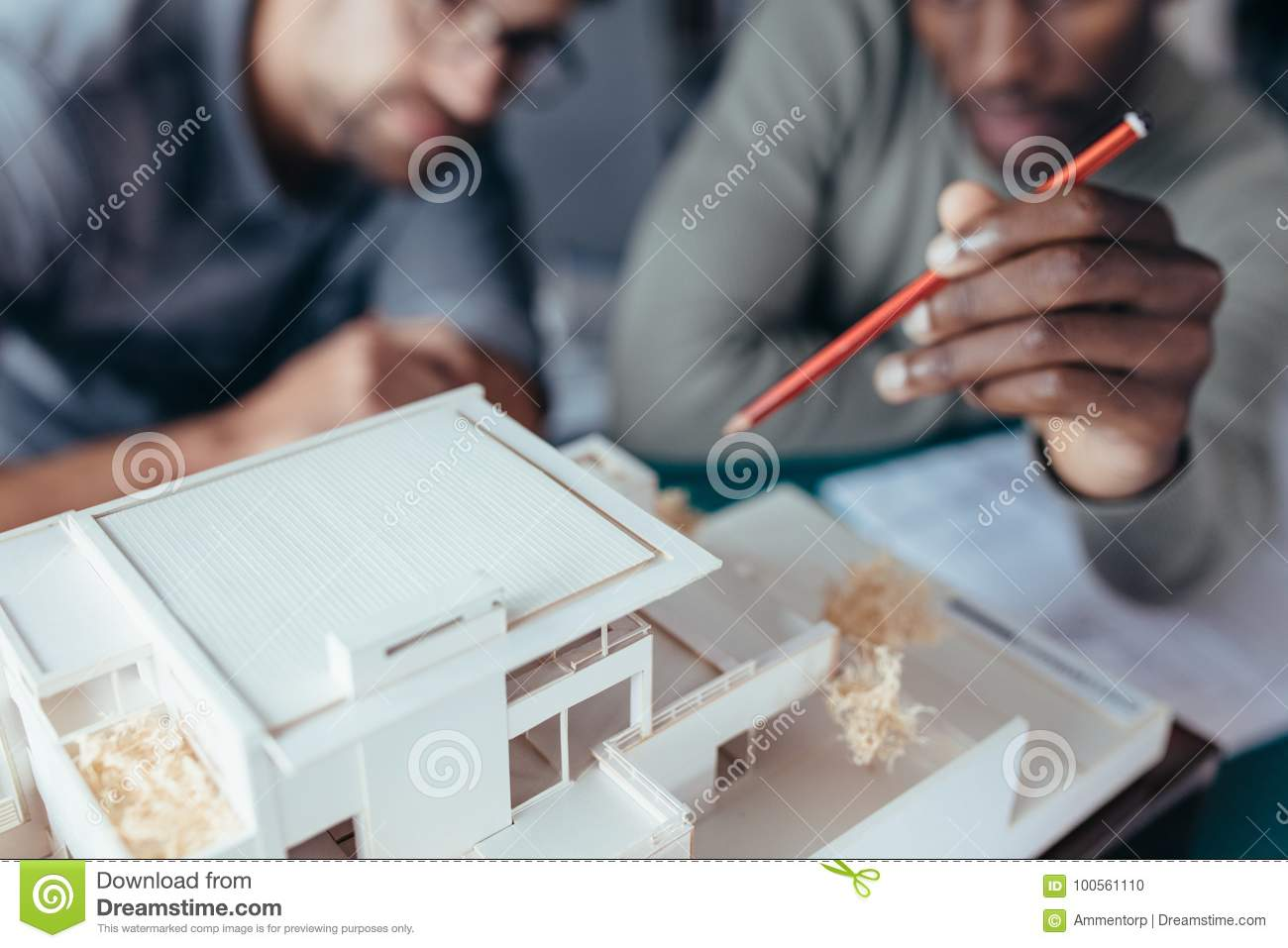 Two architects working on new construction project