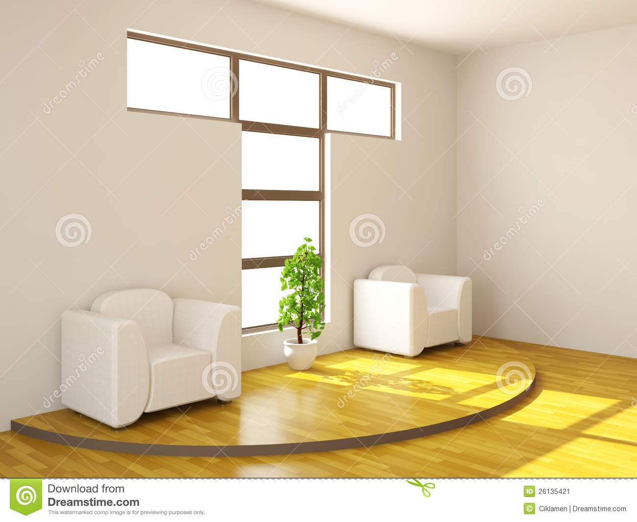 Two armchairs and plant stock illustration. Illustration ...