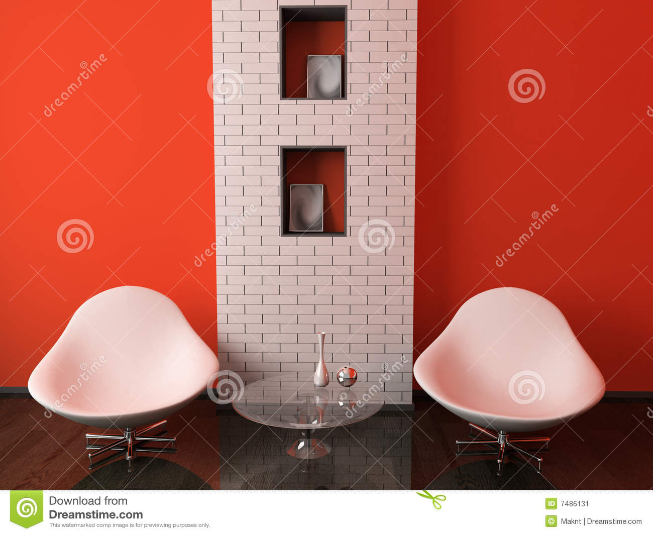 Two armchairs and table stock illustration. Illustration ...