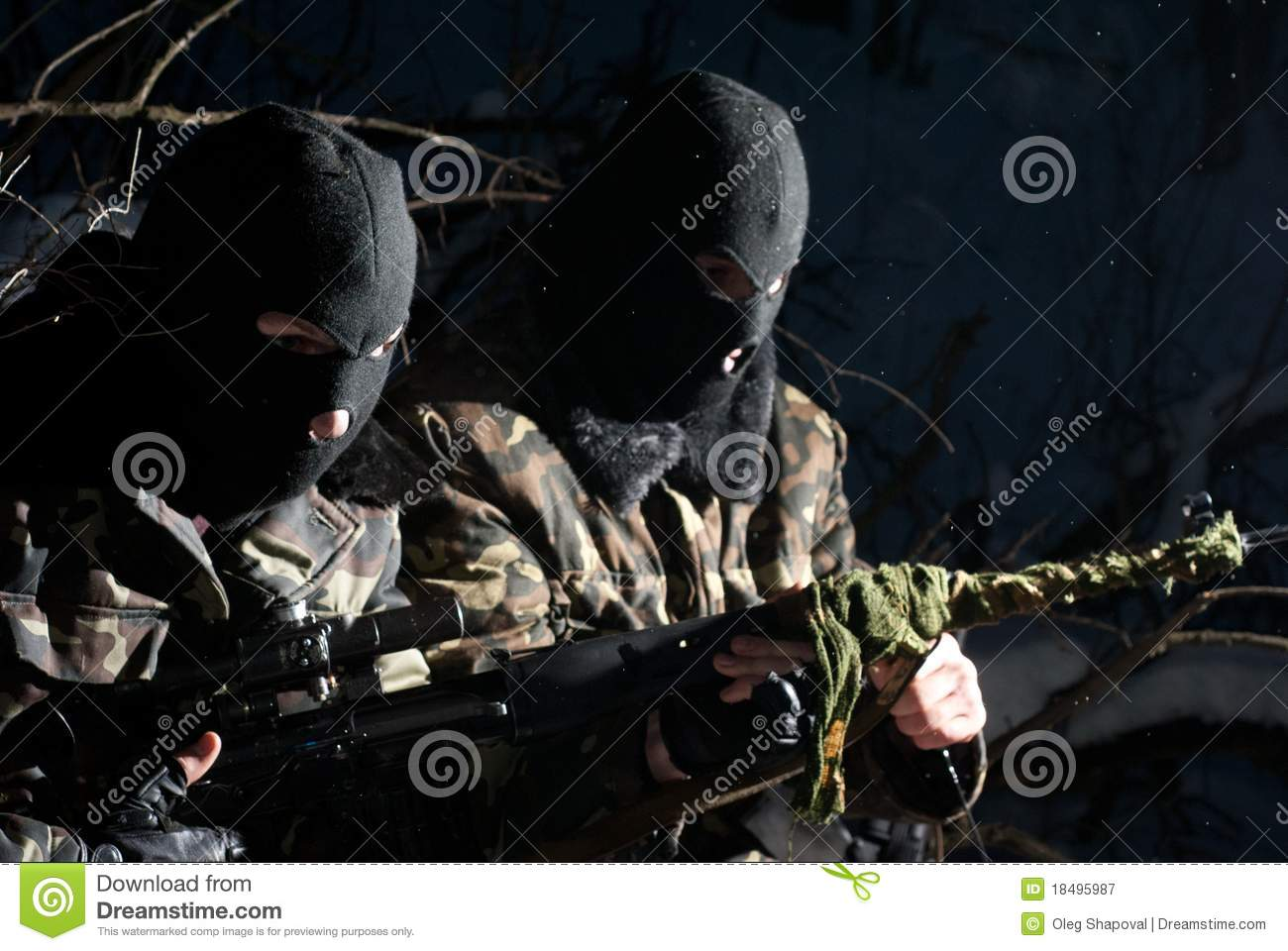 Two armed military men.