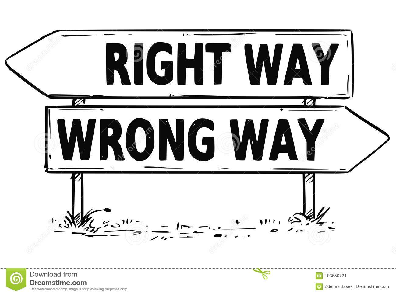 Two Arrow Sign Drawing Of Right Or Wrong Way Decision Stock Vector ...