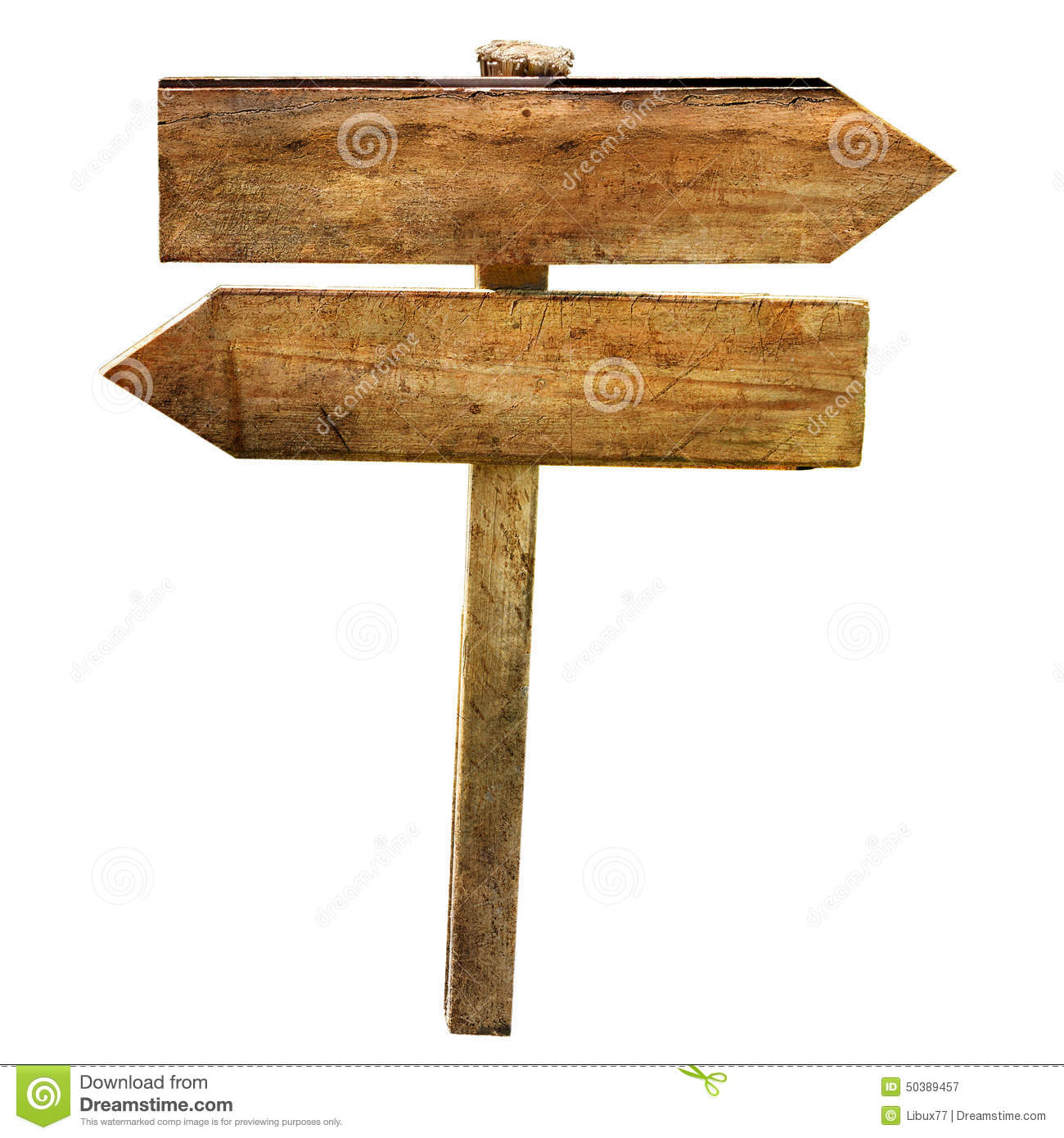 Two arrows crossroad wooden blabk signs isolated stock