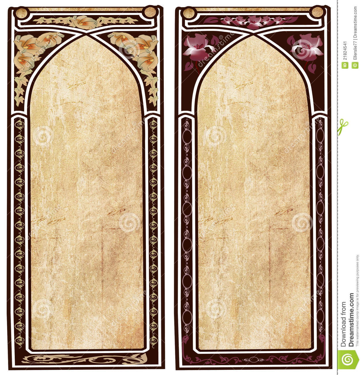 two art nouveau frames stock image